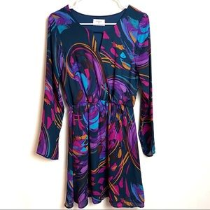 Everly Long Sleeve Wrap Watercolor Dress M